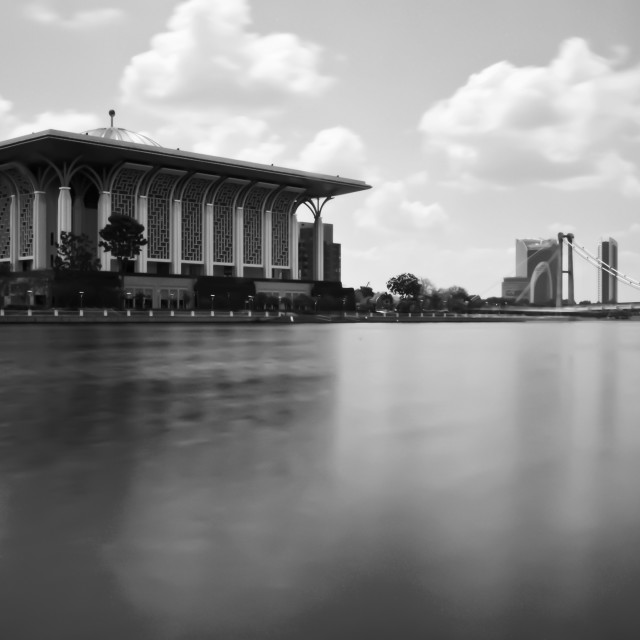 """The Iron Mosque of Putrajaya, Malaysia ( Black & White )"" stock image"