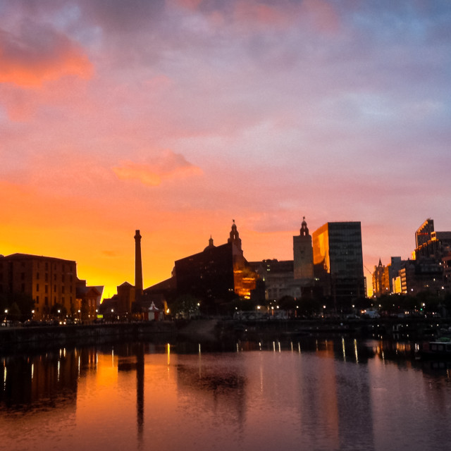 """Liverpool Docks sunset"" stock image"