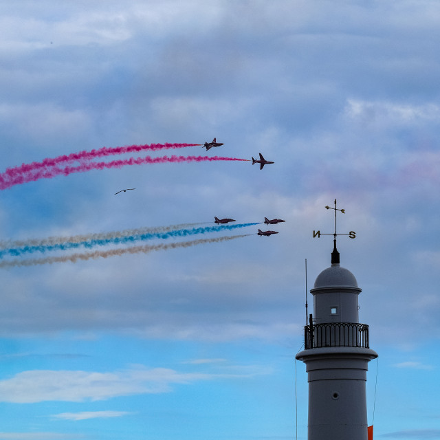 """Red Arrows at 2015 Sunderland International Airshow 13"" stock image"