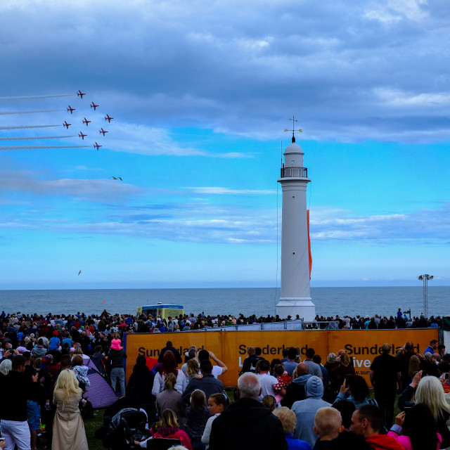 """""""Red Arrows at 2015 Sunderland International Airshow 2"""" stock image"""