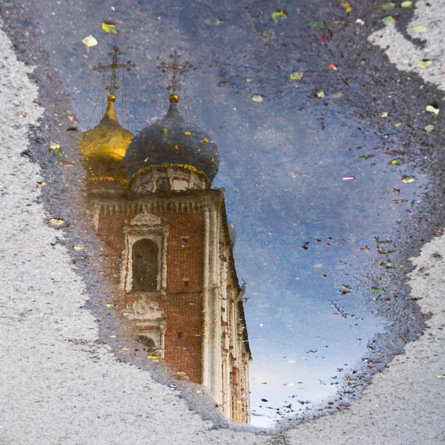 """""""the temple in the puddle"""" stock image"""