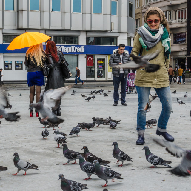 """""""Pigeons And People 1"""" stock image"""