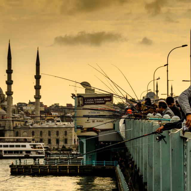 """Fishermen On Galata Bridge"" stock image"