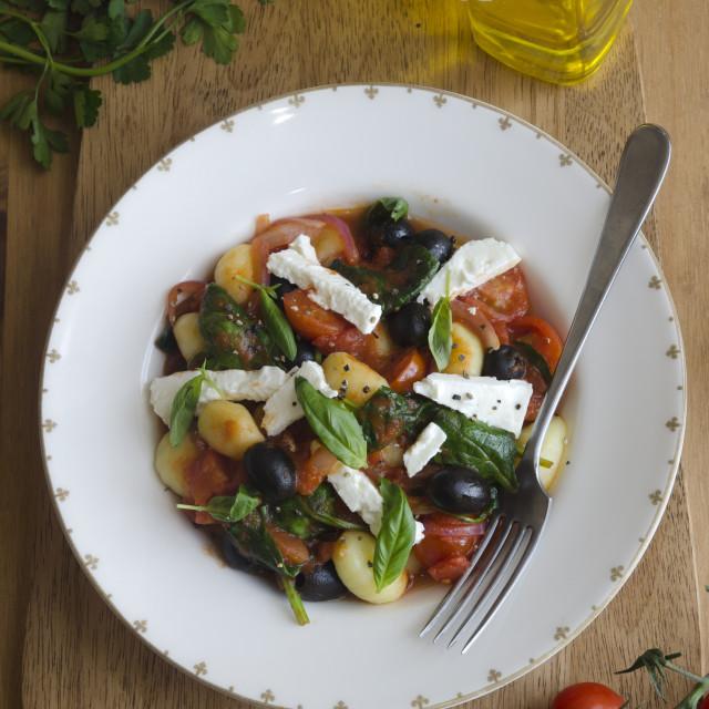 """""""Greek style gnocchi"""" stock image"""