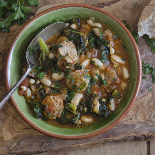 """Sausage, bean and kale stew"" stock image"