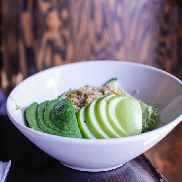 """quinoa apple and avocado salad"" stock image"