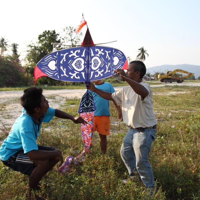 """Playing traditional kitePlaying traditional kite"" stock image"