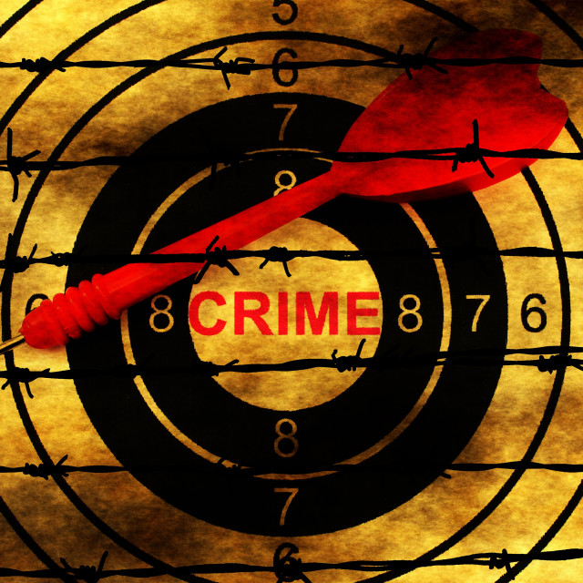 """""""Crime target concept on barbwire"""" stock image"""
