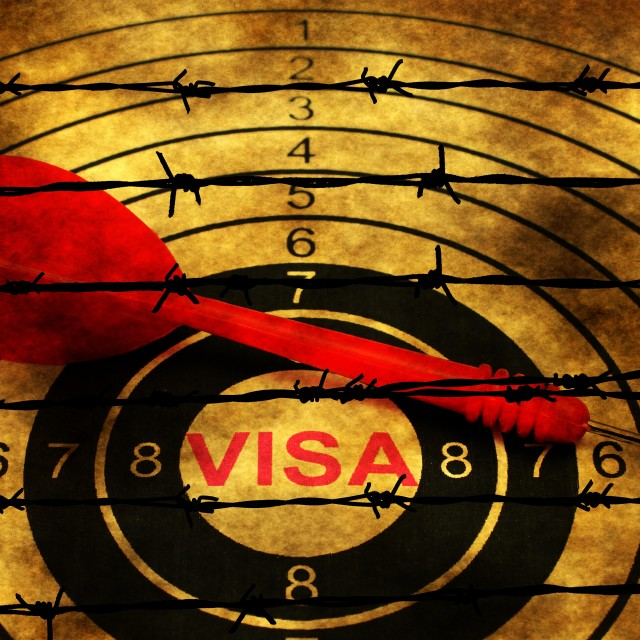"""""""Visa target concept against barbwire"""" stock image"""