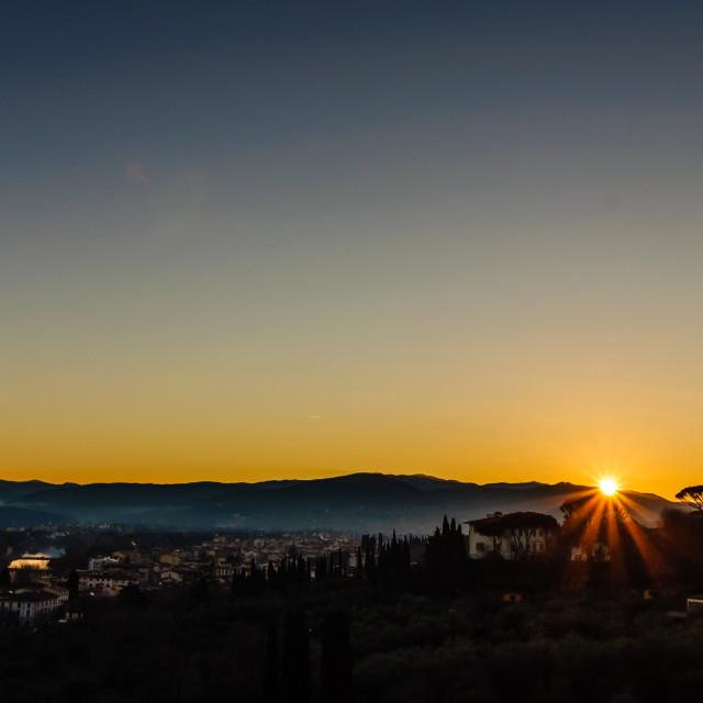 """""""Sunrise Over Florence"""" stock image"""