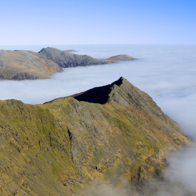 """Cloud inversion on Crib Goch ridge, Snowdonia, Wales"" stock image"