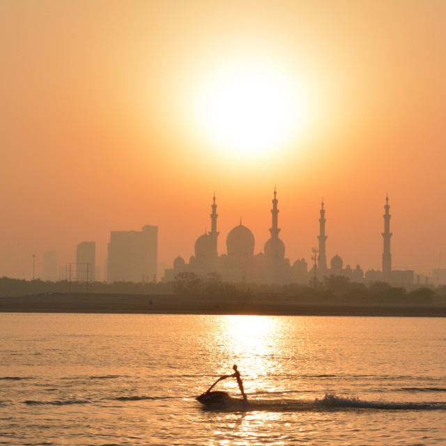 """Jetski Sunset in Abu Dhabi"" stock image"