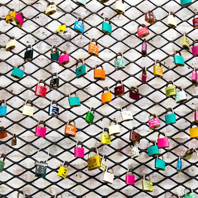 """Colorful love locks"" stock image"
