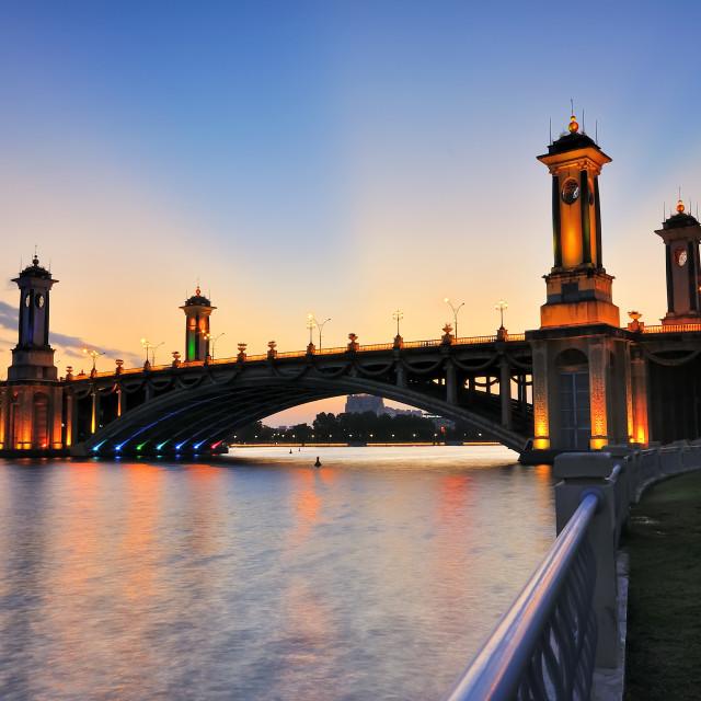 """Seri Gemilang Bridge located at Putrajaya, Malaysia during sunset"" stock image"