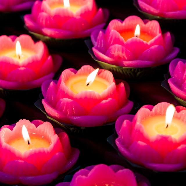 """Lotus candle lights"" stock image"