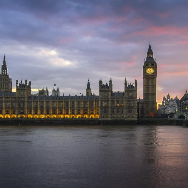 """""""Palace of Westminster Burning Sunset"""" stock image"""