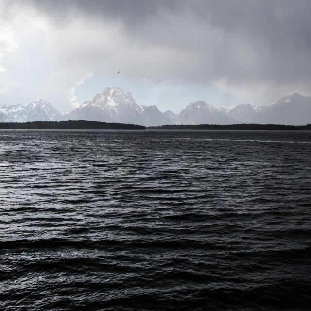 """""""Jackson Lake, Wyoming"""" stock image"""