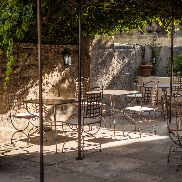 """Rustic French Patio"" stock image"