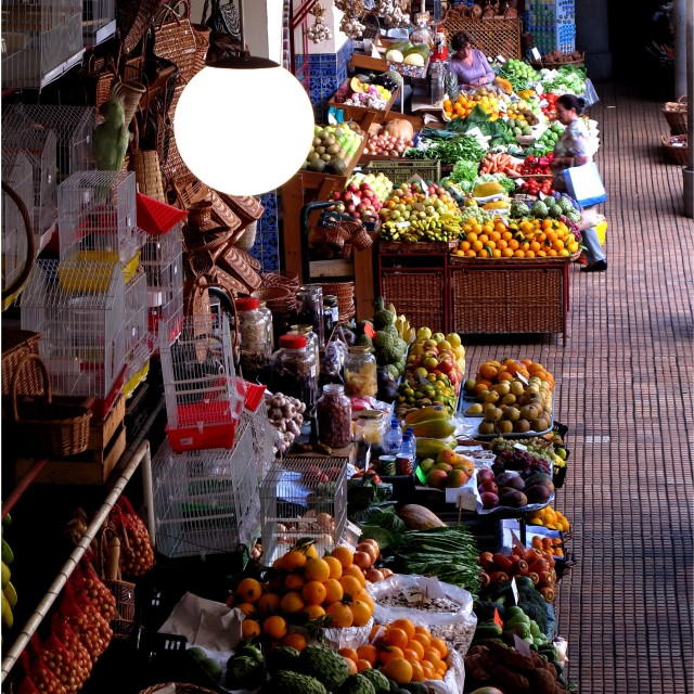 """""""vegetable and flower market, Funchal, Madeira"""" stock image"""