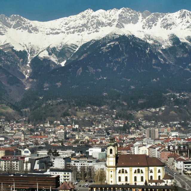 """Aerial view of Innsbruck, Austria"" stock image"