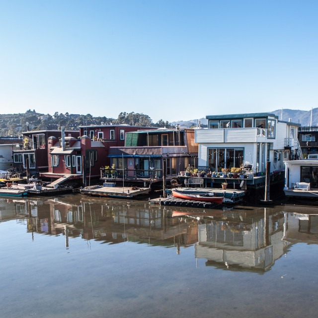 """Houseboats in Sausalito"" stock image"