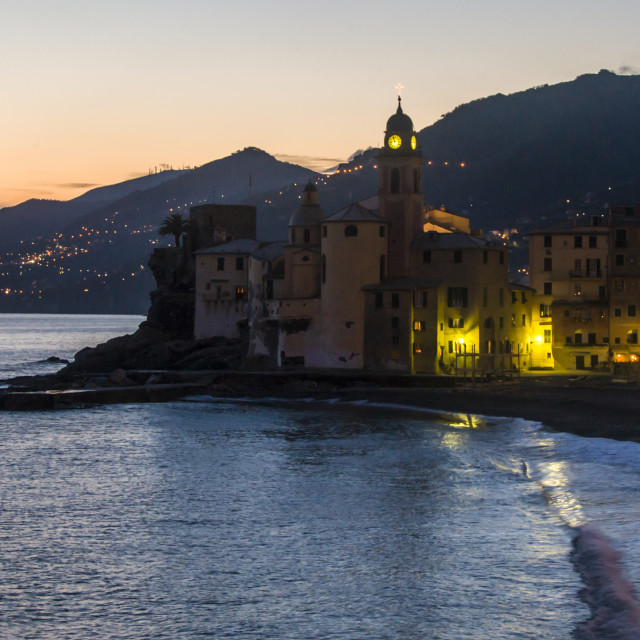 """Sunset in a Italian fishing village"" stock image"
