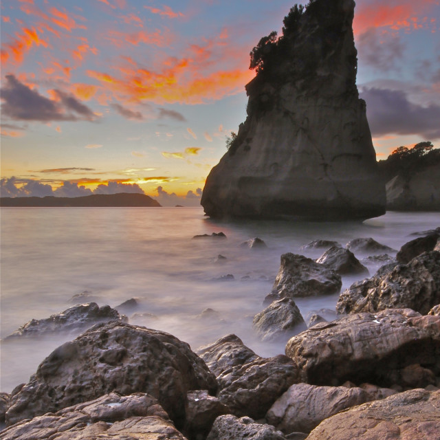 """Sunrise at Cathedral Cove"" stock image"