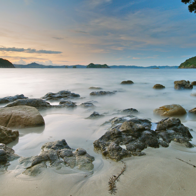 """Sunset at Hahei Beach"" stock image"