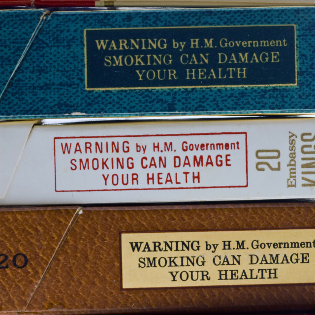 """""""Health Warnings on Cigarette Packets"""" stock image"""