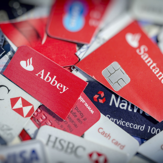 """""""Cut Up Credit and Debit Cards"""" stock image"""