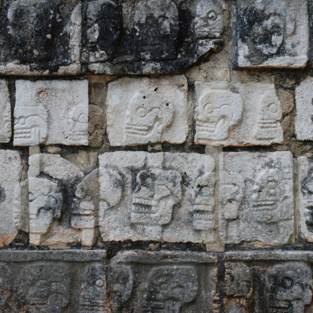 """Chichén Itzá Wall of Skulls"" stock image"
