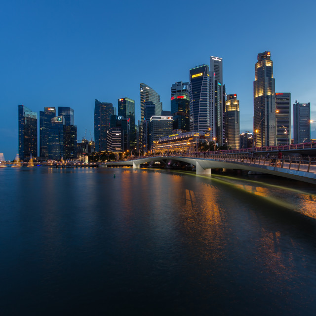 """Singapore city center at night"" stock image"