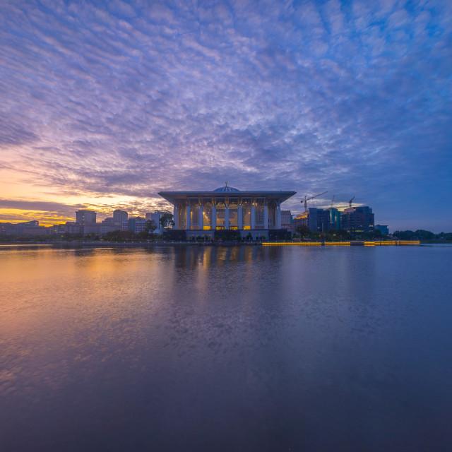 """beautiful Sunrise At Iron Mosque, Putrajaya Malaysia"" stock image"