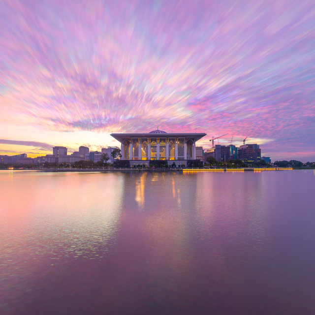 """beautiful Sunrise At Iron Mosque, Putrajaya Malaysia"" stock image"