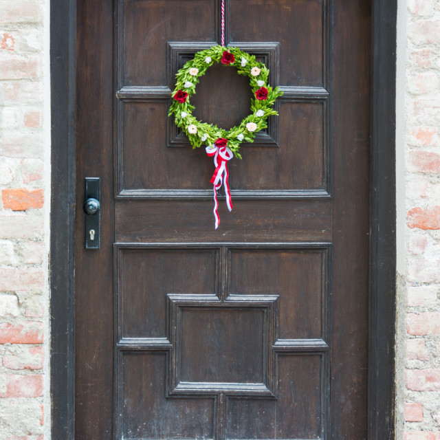 """Decorated bavarian front door"" stock image"