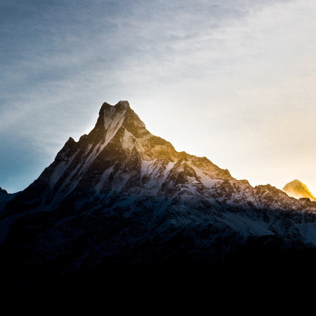"""Sunrise over East of Mount Machapuchare"" stock image"