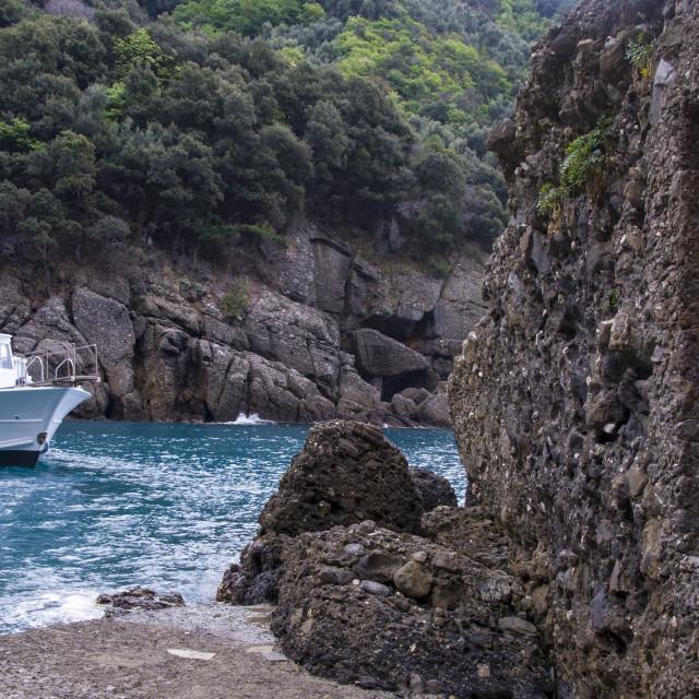 """""""Arriving in San Fruttuoso di Camogli"""" stock image"""