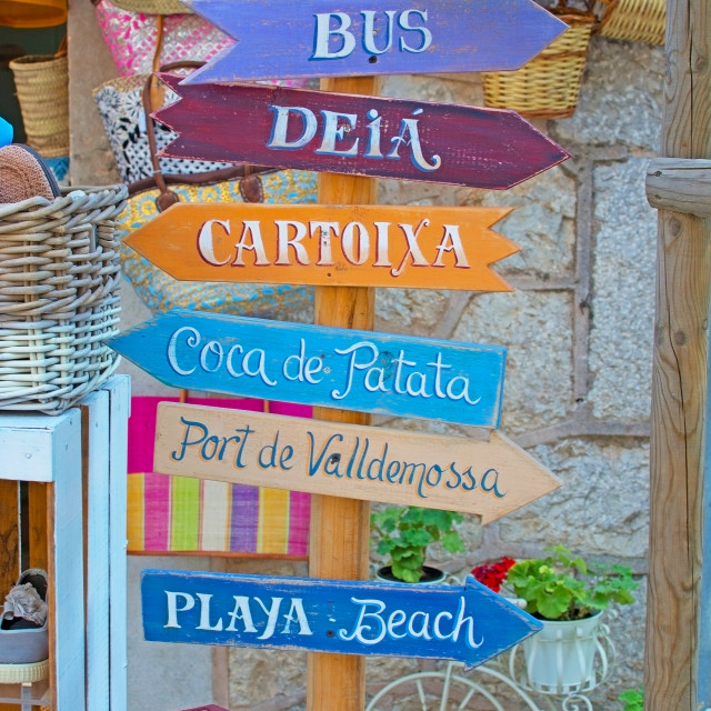 """""""Valldemossa local attraction signs"""" stock image"""