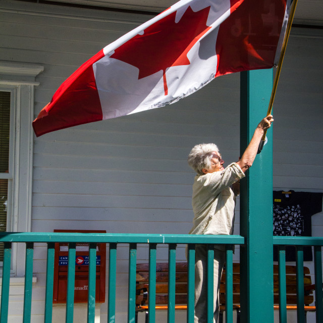 """""""Flag time! Canada, first"""" stock image"""