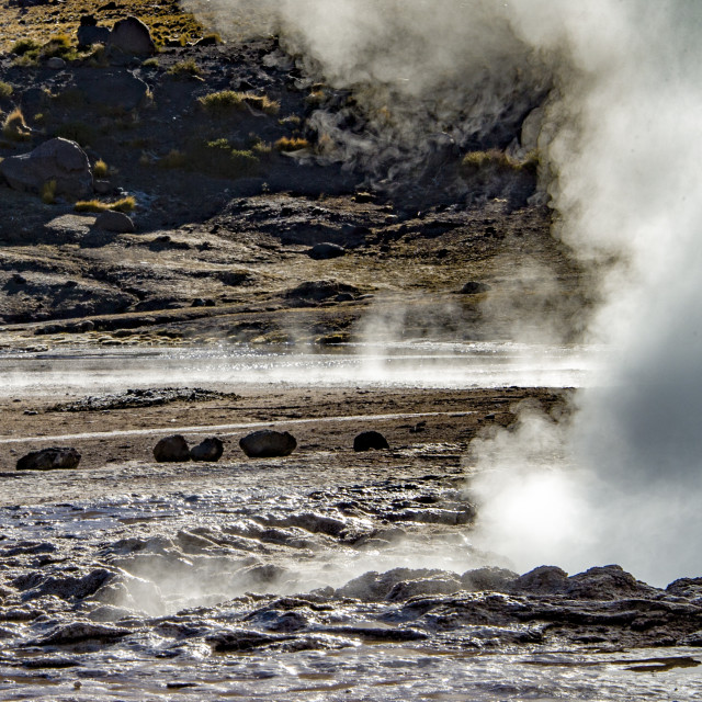 """The El Tatio Geysers - A High-Altitude Spectacle"" stock image"