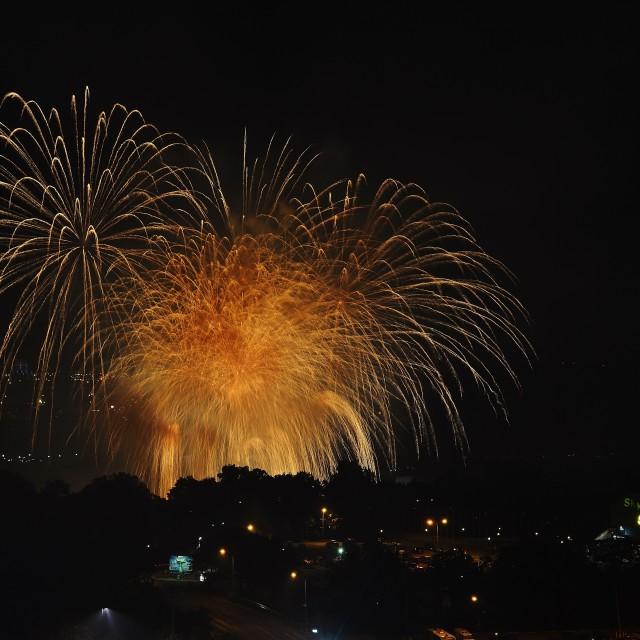 """Fireworks over Niagara Falls Canada"" stock image"
