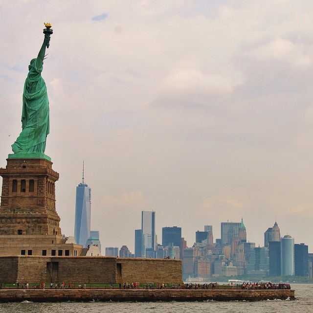 """Statue of Liberty and NYC Skyline"" stock image"