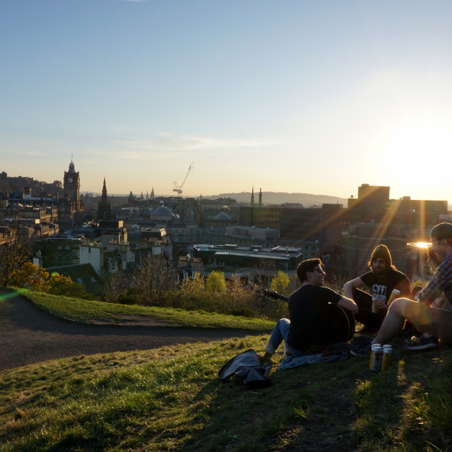 """Friends at Calton Hill Sunset - Edinburgh"" stock image"