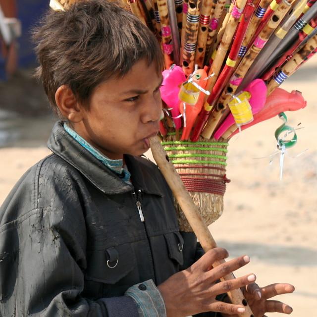 """The flute seller"" stock image"