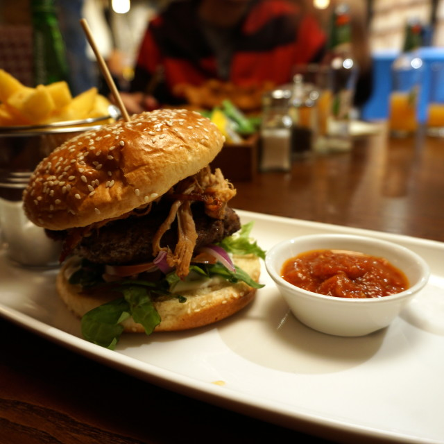 """""""Pulled pork burger and fries"""" stock image"""