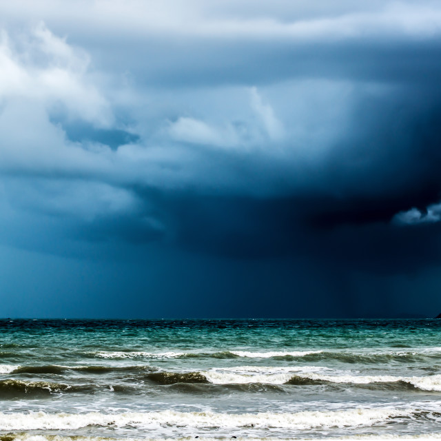 """Rain storm over the ocean"" stock image"