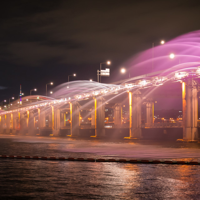 """Light Show - Banpo Bridge"" stock image"