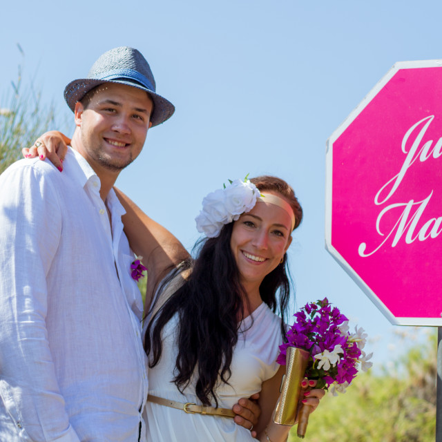 """""""Just married!"""" stock image"""