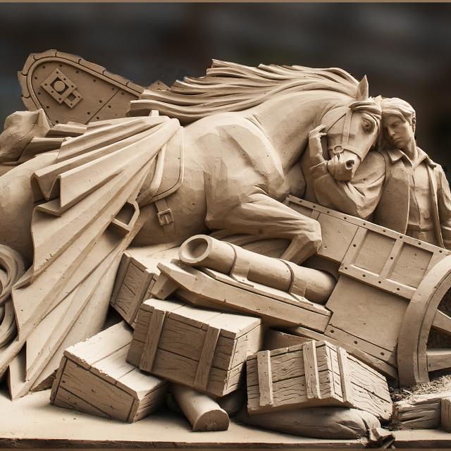 """WAR HORSE SAND SCULPTURE"" stock image"