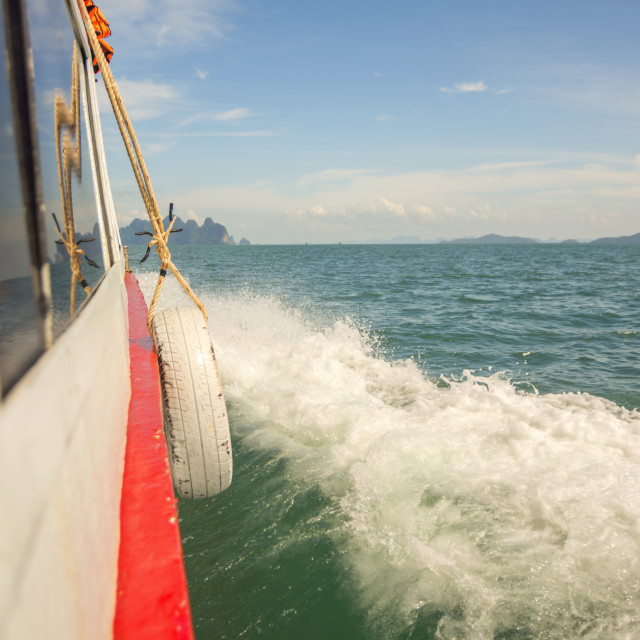 """""""Moving boat at sea"""" stock image"""